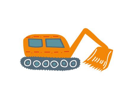 Excavadora, maquinaria de construcción industrial pesada, vista lateral, ilustración vectorial de dibujos animados sobre fondo blanco.