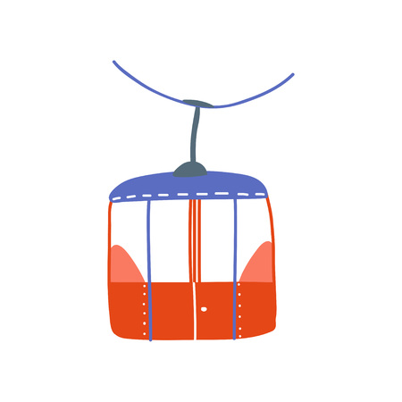 Cable Car, Red Ropeway Cabin Cartoon Vector Illustration on White Background.