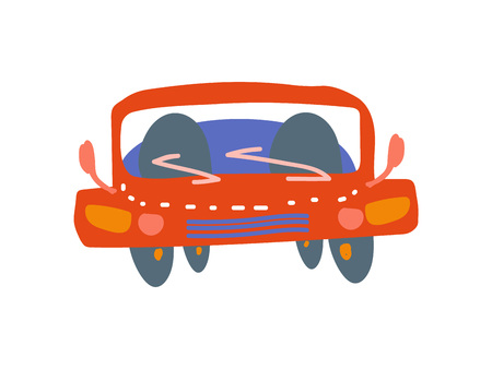 Red Car Front View Cartoon Vector Illustration Ilustração