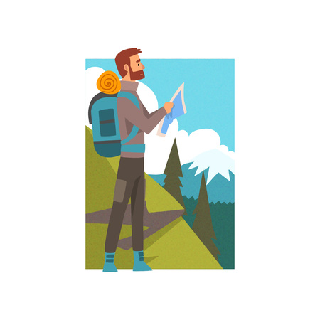 Bearded Man with Backpack and Map in Summer Mountain Landscape, Outdoor Activity, Travel, Camping, Backpacking Trip or Expedition Vector Illustration on White Background.