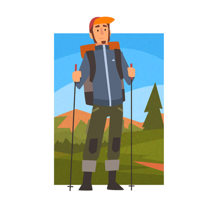 Nordic Walking Tour, Man with Backpack and Poles in Summer Mountain Landscape, Outdoor Activity, Travel, Camping, Backpacking Trip or Expedition Vector Illustration on White Background.