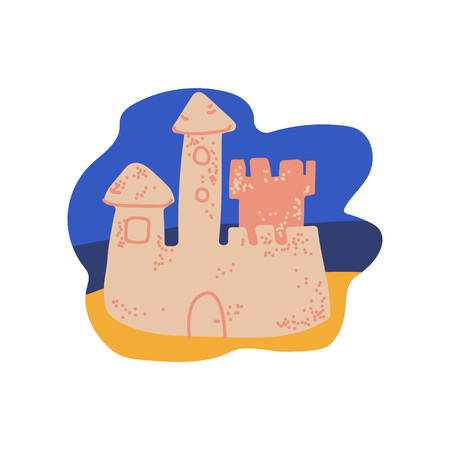 Sand Castle on Beach, Summer Travel Symbol Vector Illustration