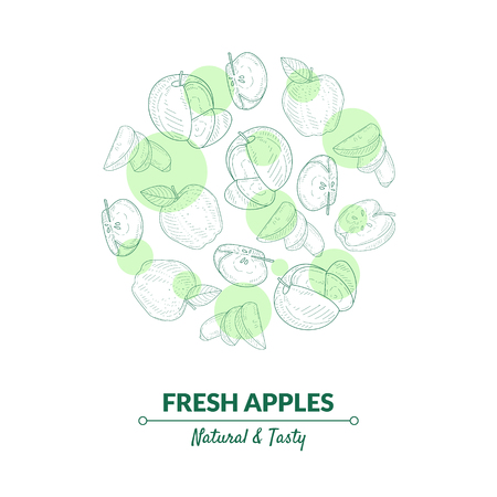 Fresh Apples Banner Template with Organic, Natural Fruits in Circular Shape Hand Drawn Vector Illustration Ilustracja