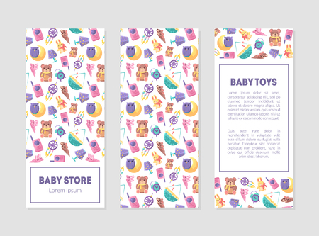 Baby Store Banner Templates with Cute Toys and Care Supplies, Design Element with Place for Text, Can Be Used for Landing Page, Mobile App, Flyer, Gift Card Vector Illustration Stock Illustratie