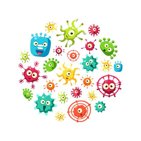 Bakterien-Banner-Vorlage mit niedlichem buntem Mikroorganismen-Muster in Kreisform, Probiotika, Medizin oder Nahrungsergänzungsmitteln für die gastrointestinale Gesundheit-Vektor-Illustration