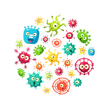 Plantilla de banner de bacterias con lindo patrón de microorganismos coloridos en forma circular, probióticos, medicamentos o suplementos dietéticos para la ilustración de Vector de salud gastrointestinal