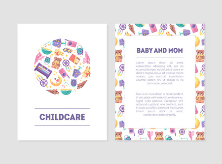 Baby and Mom Banner Templates with Care Supplies and Place for Text, Design Element Can Be Used for Landing Page, Mobile App, Flyer, Gift Card Vector Illustration
