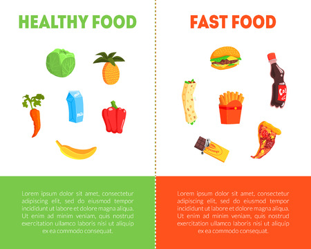 Food Choice, Healthy and Junk Food Banner Template with Place for Text, Fresh Vegetables or Fast Food Vector Illustration Ilustração