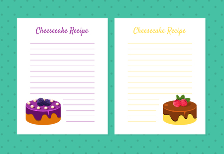 Cheesecake Recipe Cookbook Design Templates, Card with Lines for Recipe Placement Vector Illustration