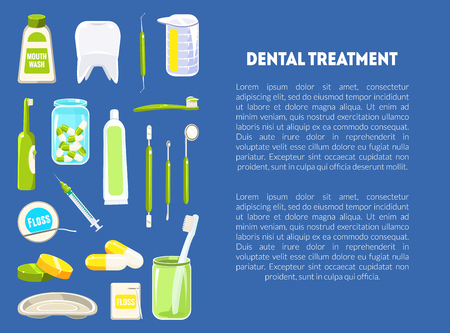 Dental Treatment Banner Template with Dentist Tools and Place for Text, Dental Clinic Service, Mobile Website, Landing Page Design Element Vector Illustration