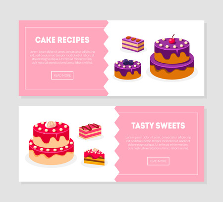 Cake Recipes, Tasty Sweets Banner Templates Set with Delicious Desserts, Bakery, Confectionery, Cake Shop, Cafe Design Element Vector Illustration Vectores