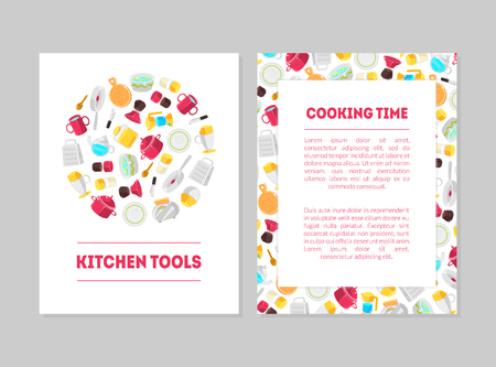 Cooking Time, Kitchen Tools Banner Templates Set, Cards with Place for Text and Cooking Utensils, Design Element Can Be Used for Card, Label, Invitation Vector Illustration