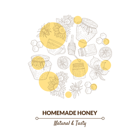 Organic Honey Banner Template with Hand Drawn Pattern in Circular Shape, Natural Sweet Healthy Food, Design Element Can Be Used for Card, Label, Invitation, Certificate Vector Illustration