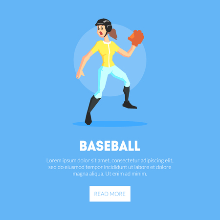 Girl Playing Baseball Wearing Sports Uniform Banner Template, Design Element Can Be Used for Landing Page, Mobile App, Website Vector Illustration