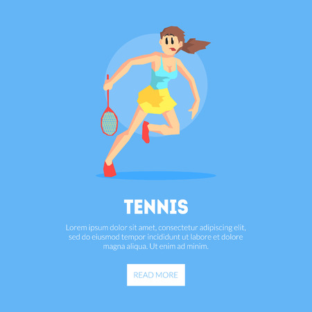 Girl Playing Tennis, Wearing Sports Uniform Banner Template, Design Element Can Be Used for Landing Page, Mobile App, Website Vector Illustration