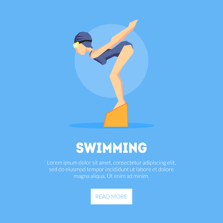 Girl Swimmer at Starting Point Banner Template, Design Element Can Be Used for Landing Page, Mobile App, Website Vector Illustration on Blue Background.