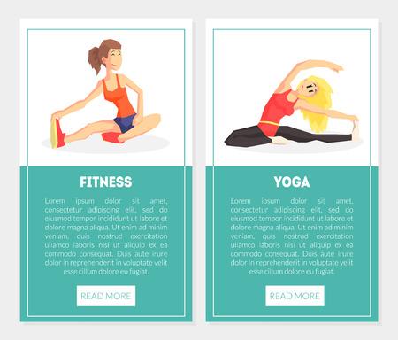 Fitness, conjunto de plantillas de banner de yoga con chicas en ejercicio, elemento de diseño que se puede utilizar para la página de destino, aplicación móvil, ilustración vectorial de sitio web
