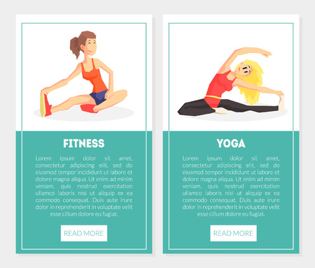 Fitness, Yoga Banner Templates Set with Exercising Girls, Design Element Can Be Used for Landing Page, Mobile App, Website Vector Illustration