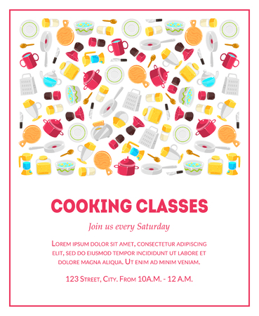 Cooking Classes Banner Template, Culinary School Card with Place for Text and Kitchen Utensils, Design Element Can Be Used for Card, Label, Invitation, Certificate, Flyer, Coupon, Tag Vector Illustration Standard-Bild - 122450114