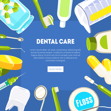 Dental Care Banner Template, Dentist Tools and Equipment, Dental Clinic Service, Mobile Website, Landing Page Design Element Vector Illustration