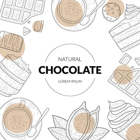 Modèle de bannière de chocolat naturel avec motif dessiné à la main de desserts au chocolat et place pour le texte, élément de conception peut être utilisé emballage, étiquette, identité de marque, certificat, flyer, illustration vectorielle de coupon sur fond blanc. Vecteurs