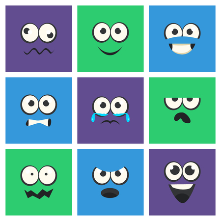 Emoji with Different Emotive Feelings Set, Kawaii Emoticons, Funny Faces with Different Emotions Vector Illustration, Flat Style