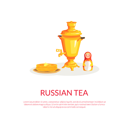 Russian Tea Banner Template with Place for Text and Russian Culture Symbols, Samovar, Matryoshka, Pancakes Colorful Vector Illustration. Illustration