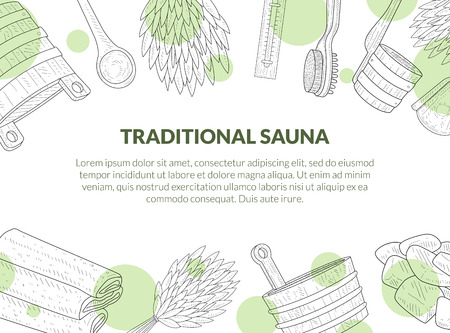 Traditional Sauna Poster, Banner with Place for Text and Hand Drawn Bath Accessories, Birch Broom, Bucket, Towel, Brush, Thermometer Vector Illustration Çizim