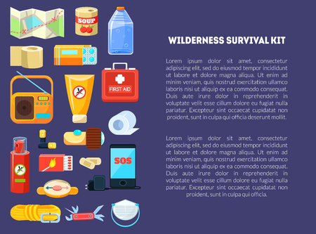Wilderness Survival Kit Banner Template with Place for Text, Travel Necessities, First Aid Kit, Map, Canned Food, Phone, Rope, Compass, Bottle of Water, Radio, Box of Matches, Repellent, Vector Illustration, Flat Style