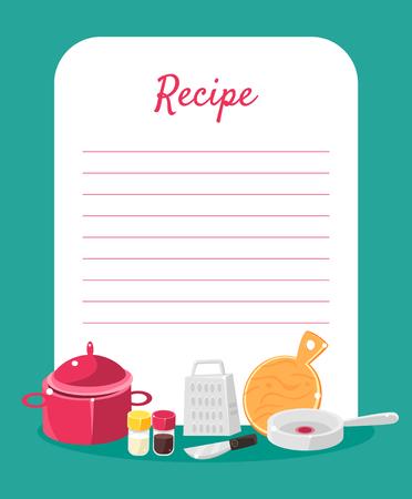 Livre de recettes de recettes décoré avec des ustensiles de cuisine, carte avec des lignes pour le placement de la recette Illustration vectorielle colorée.