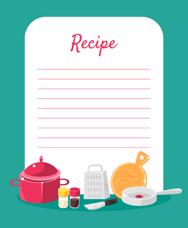Recipe Cookbook Decorated with Kitchen Tools, Card with Lines for Recipe Placement Colorful Vector Illustration.