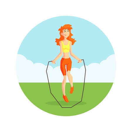 Girl Skipping with Jump Rope in Nature Wearing Sports Uniform, Physical Workout Training, Active Healthy Lifestyle Vector Illustration on White Background. Stock Illustratie