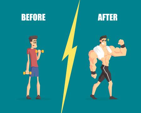 Uomini deboli e muscolosi, uomo prima e dopo l'allenamento, dimostrazione dei progressi nell'allenamento