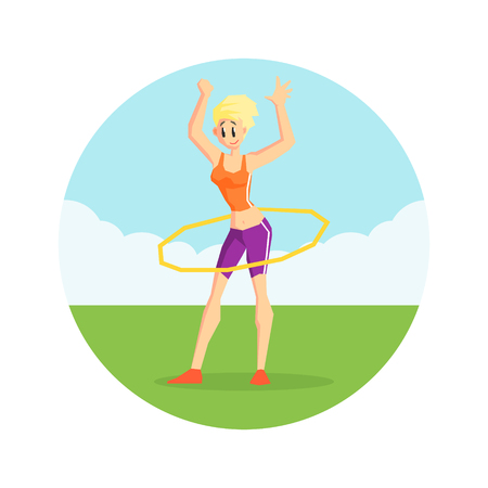 Girl Twirling Hula Hoop Around Her Waist in Nature Wearing Sports Uniform, Physical Workout Training, Active Healthy Lifestyle Vector Illustration on White Background.