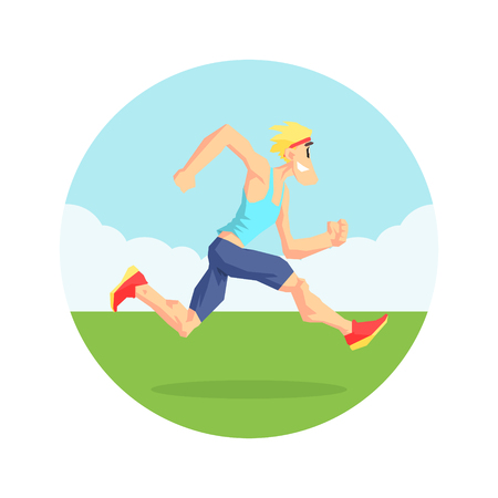 Male Athlete Running in Nature, Physical Workout Training, Active Healthy Lifestyle Vector Illustration on White Background.