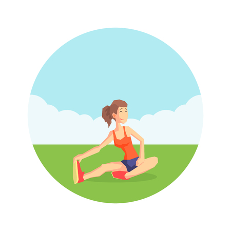 Girl Warming Up Before Training in Nature Wearing Sports Uniform, Physical Workout Training, Active Healthy Lifestyle Vector Illustration on White Background. 向量圖像