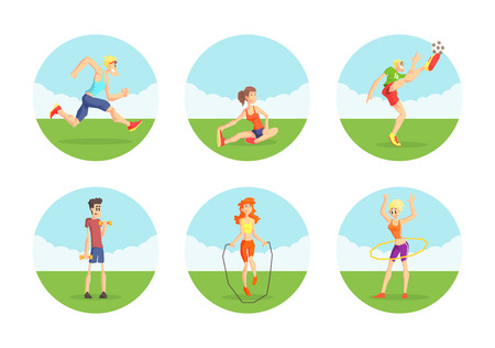 People Doing Sports in Nature Set, Male and Female Athletes Wearing Sports Uniform Exercising Outdoors, Physical Workout Training, Active Healthy Lifestyle Vector Illustration on White Background. Иллюстрация