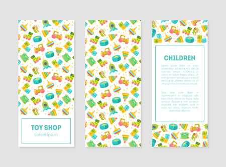 Toy Shop Banner Templates with Cute Baby Toys Pattern and Place for Text, Design Element Can Be Used for Card, Label, Invitation, Certificate, Flyer, Coupon Vector Illustration Ilustracja