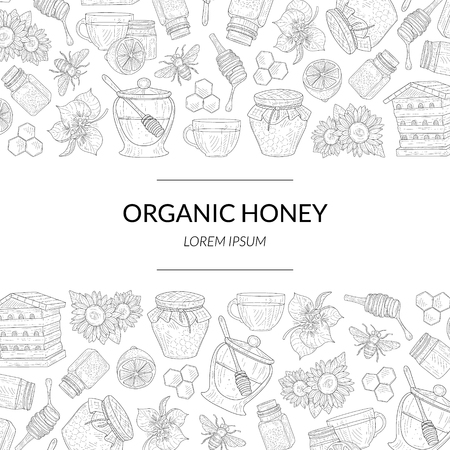 Organic Honey Banner Template with Hand Drawn Pattern and Place for Text, Natural Sweet Healthy Food, Design Element Can Be Used for Card, Label, Invitation, Certificate, Flyer Vector Illustration