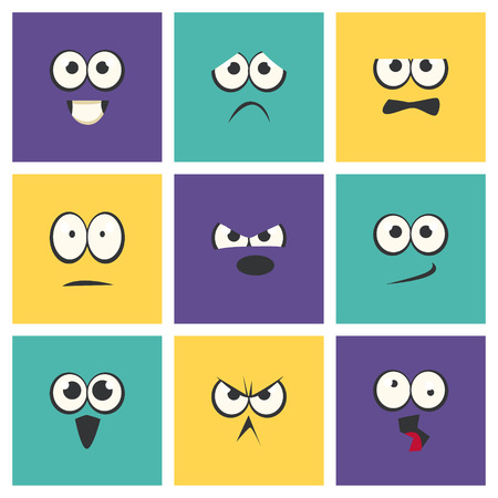 Cute Emoji with Different Emotive Feelings Set, Emoticons, Funny Faces with Different Emotions Vector Illustration