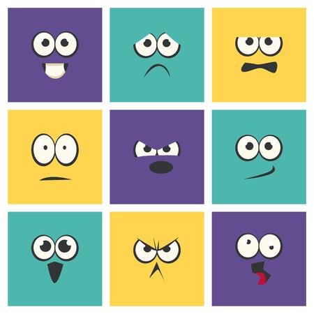 Cute Emoji with Different Emotive Feelings Set, Emoticons, Funny Faces with Different Emotions Vector Illustration