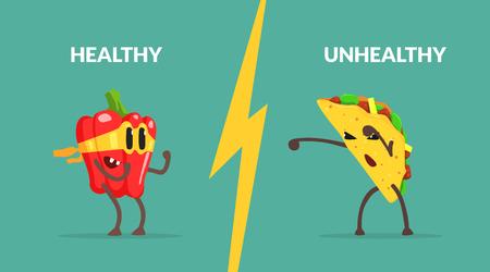 Plantilla de banner de alimentos saludables vs no saludables, personaje de pimienta fuerte luchando con Tako, comida saludable contra la ilustración de Vector de comida rápida Ilustración de vector