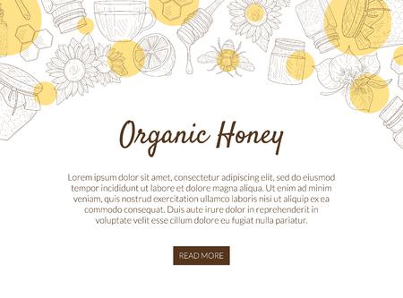 Modèle de bannière de production de miel biologique avec motif et place pour le texte, aliments sains et sucrés naturels, élément de conception pouvant être utilisé pour le site Web mobile, illustration vectorielle de la page de destination