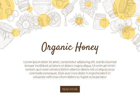 Organic Honey Production Banner Template with Pattern and Place for Text, Natural Sweet Healthy Food, Design Element Can Be Used for Mobile Website, Landing Page Vector Illustration