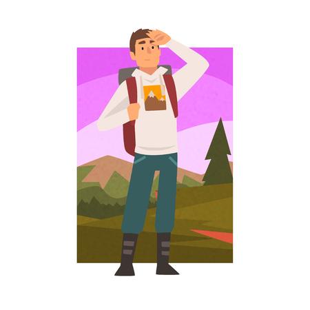 Junger Mann, der mit Rucksack reist, männlicher Reisender, der in die Ferne im Sommer Berglandschaft, Outdoor-Aktivitäten, Reisen, Camping, Backpacking-Reise oder Expeditions-Vektor-Illustration auf weißem Hintergrund schaut. Vektorgrafik