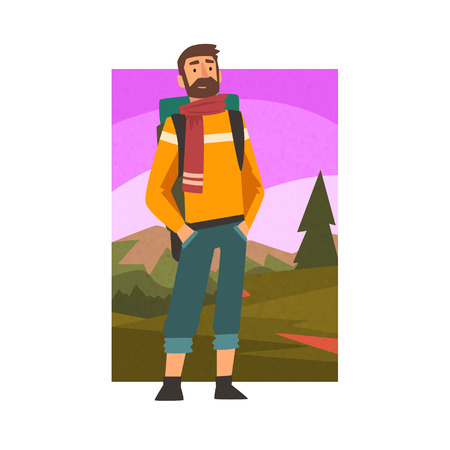 Bearded Man Travelling with Backpack, Male Traveller in Summer Mountain Landscape, Outdoor Activity, Travel, Camping, Backpacking Trip or Expedition Vector Illustration on White Background.