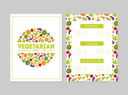Vegetarian Menu Design Template, Main Dishes, Fresh Salads, Hot and Cold Drinks, Cafe or Restaurant identity Vector Illustration Ilustração