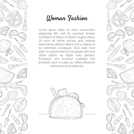 Woman Fashion Banner Template with Place for Text, Female Beauty Elements, Makeup Products, Cosmetics Hand Drawn Vector Illustration Archivio Fotografico - 122807942