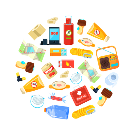Wilderness Survival Kit, Travel Necessities in Circular Shape, First Aid Kit, Map, Canned Food, Phone, Rope, Compass, Bottle of Water, Radio, Box of Matches, Repellent, Vector Illustration Flat Style