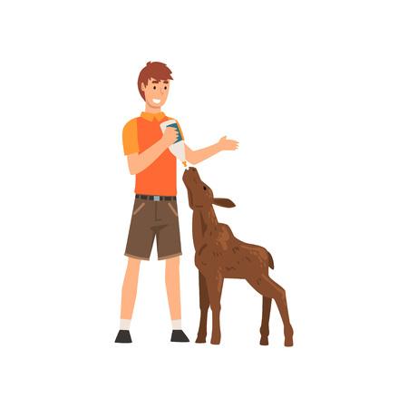 Zoo Worker Feeding alf with Milk Bottle, Professional Zookeeper Character Caring of Animal Vector Illustration on White Background.